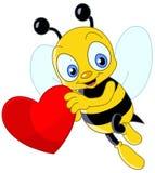 Netter Bienen-Valentinsgruß Stockfotografie