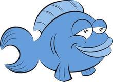 Netter blauer Karikaturfisch lächelt, während er nach vorn schaut lizenzfreie abbildung