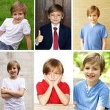 Netter blonder Junge des Collagenporträts Lizenzfreies Stockfoto