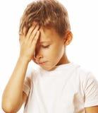 Netter blonder Junge Litlle ermüdete traurigen Abschluss oben Lizenzfreies Stockfoto