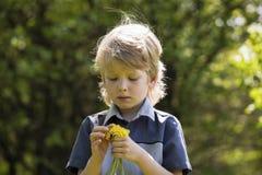 Netter blonder Junge mit Löwenzahn draußen Stockfoto