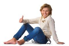 Netter blonder Junge oder Jugendlicher in zufälligem in voller Länge Stockbilder