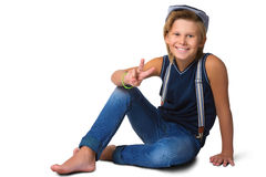 Netter blonder Junge oder Jugendlicher in zufälligem in voller Länge Lizenzfreies Stockfoto