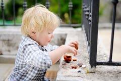 Netter blonder kleiner Junge, der draußen mit kleinen Steinen spielt Stockbild