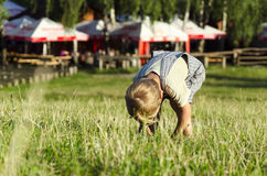 Netter blonder kleiner Junge, der an einem grasartigen Park spielt Stockbild