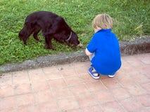 Netter blonder kleiner Junge passt schwarzen Hund mit dem Knochen auf Lizenzfreie Stockbilder