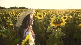 Netter Brunette in einem blühenden Sonnenblumenfeld stock video