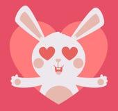 Netter Bunny Crazy in der Liebe innerhalb des Herzens Stockfotos