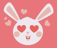 Netter Bunny Head Crazy in der Liebe Lizenzfreies Stockfoto