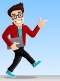Netter Computer-Aussenseiter - zeigend beim Gehen Lizenzfreies Stockfoto