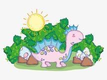 Netter Corythosaurus mit Dino-Eiern und Büsche mit Sonne stock abbildung
