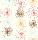 Netter dekorativer gezeichneter Hintergrund mit runder Fantasie blüht stock abbildung