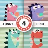 Netter Dino mit Eiscreme lizenzfreie abbildung