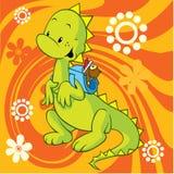 Netter Dino mit Schulebeutel Stockbilder
