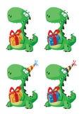 Netter Dinosaurier mit einem Geschenkset Stockfotografie