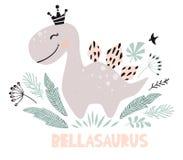 Netter Druck des Dinosaurierbabys Süße Dino-Prinzessin mit Krone Kühle Stegosaurusillustration stock abbildung