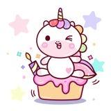Netter Einhornvektor mit Kuchen, glücklicher Geburtstagsfeier mit candel für chikd Jungen und Mädchen vektor abbildung
