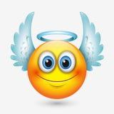 Netter Engel Emoticon mit Flügeln, emoji, smiley - vector Illustration stock abbildung