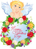 Netter Engel mit Blumen. Valentinsgruß-Tageskarte desig Lizenzfreies Stockbild