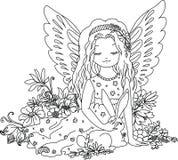 Netter Engel mit Häschen Malbuchillustration lizenzfreie abbildung