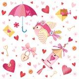 Netter Fall in Liebessammlung Nette romantische lokalisierte Elemente Blumen, Paare, Geschenke, Dekorationen und romantische Atmo lizenzfreie abbildung