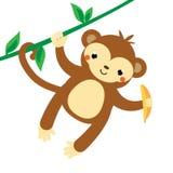 Netter Fallhammer Karikaturseidenäffchen, das an der Liane, Banane halten hängt Afrikanisches Tier Kawaii-Art lizenzfreie abbildung