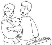 Netter Familie bw Lizenzfreie Stockfotos