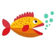 Netter Fischmund geöffnet mit Blasen Fische auf einem weißen Hintergrund Auch im corel abgehobenen Betrag Stockfotografie