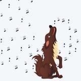 Netter flaumiger heulender Karikaturhund Lizenzfreies Stockfoto