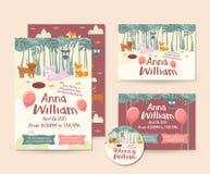 Netter Forest Animal Theme Happy Birthday-Einladungs-Karten-Satz und Flieger-Illustrations-Schablone Stockbild