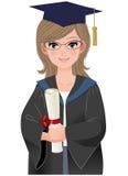 Netter Frauabsolvent im akademischen Kleid Lizenzfreies Stockfoto