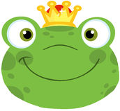 Netter Frosch-lächelnder Kopf mit Krone Stockbild