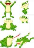 Netter Froschkarikatur-Sammlungssatz Stockfotografie