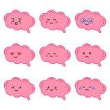 Netter Gehirncharakter der flachen Designkarikatur mit verschiedenen Gesichtsausdrücken, Gefühle Lizenzfreie Stockbilder