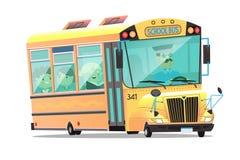 Netter gelber Schulbus mit einem mustached Fahrer Kinderan bord Gespräch und -studie Stockbild