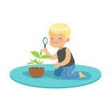 Netter glücklicher kleiner Junge, der eine Anlage durch eine Lupe, Lektion von Botanik im Kindergartenkarikaturvektor überprüft lizenzfreie abbildung