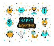 Netter glücklicher Monster-Satz Gekritzelkarikaturmonster Lizenzfreie Stockfotos