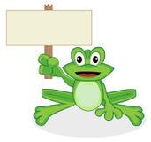 Netter glücklicher schauender kleiner grüner Frosch, der eine Querstation hält Stockbild