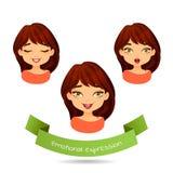 Netter grünäugiger Brunette mit verschiedenen Gesichtsausdrücken stock abbildung