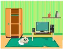 Netter grüner Raum mit hübscher Katze, Möbeln, großem Teppich und Computer Front View stock abbildung