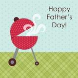 Netter Grill Cookout als Weinlese Vater ` s Tageskarte stock abbildung