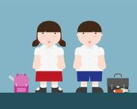 Netter großer fetter Junge und Mädchen zurück zu Schule Stockbild
