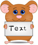 Netter Hamster mit Schild Stockfotos