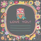 Netter Hintergrund der Eulen-Liebe. Schablone für Designkarikaturgruß Stockfoto