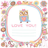 Netter Hintergrund der Eulen-Liebe. Schablone für Designkarikaturgruß Stockbild