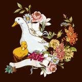 Netter Hintergrund mit Enten und Blumen Stockfoto