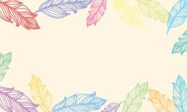 Netter Hintergrund mit Federn Vector Kartendesign mit Grenze in der böhmischen Art Stockbilder