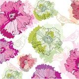Netter Hintergrund mit Vögeln und Blumen Stockbild