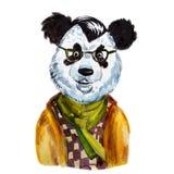 Netter Hippie-Panda des Aquarellporträts Lizenzfreies Stockfoto