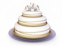 Netter Hochzeits-Kuchen in 3D Stockbilder